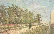 Vincent Van Gogh Outskirts of Paris:Road with Peasant Shouldering a Spade (nn04) oil painting reproduction